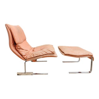 Giovanni Offredi Onda Chair and Ottoman From Saporiti Italia For Sale