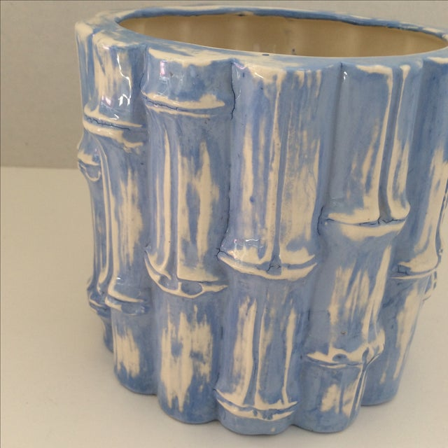 Hand Painted Blue Bamboo Cache Pot - Image 3 of 5