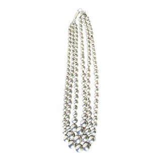 Triple Strand Silver Mexican Graduated Beads For Sale