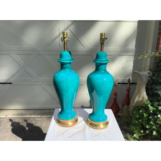 Italian Mid-Century Modern Blue Lamps, a Pair For Sale In Atlanta - Image 6 of 13
