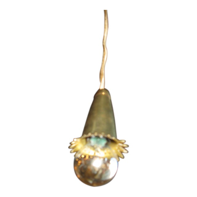 Set of eight brass pendant lights For Sale