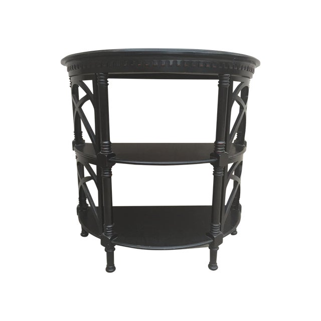 Black Wood Bamboo Style Demilune Entry Table - Image 1 of 7