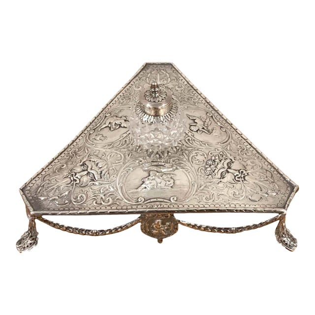 Georgian Sterling and Cut Glass Triangular Inkstand, London, 1777 For Sale