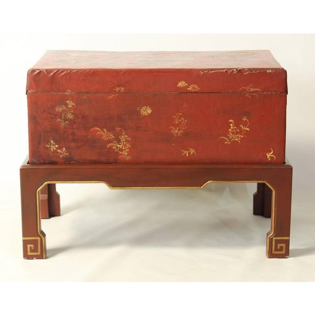 Hand-Painted Chinese Trunk on Stand For Sale - Image 4 of 8