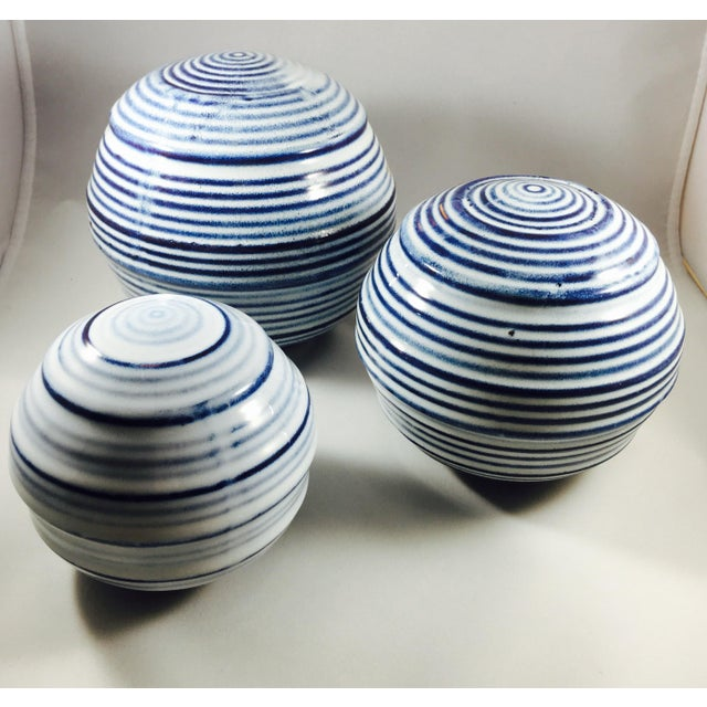 Ceramic Spheres with Blue & White Stripes - 3 - Image 2 of 3