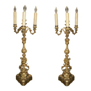 19th Century French Louis XV Style Bronze Candelabras-A Pair For Sale