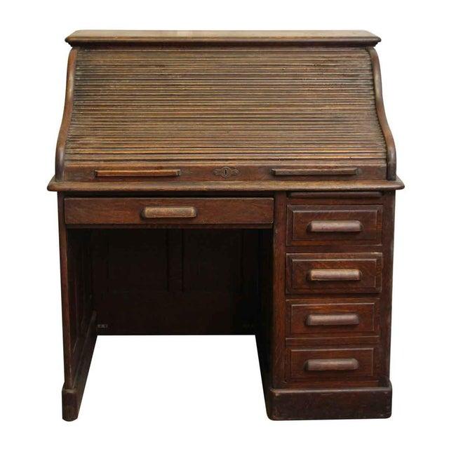 Oak Roll Top Desk with Original Finish - Image 2 of 7