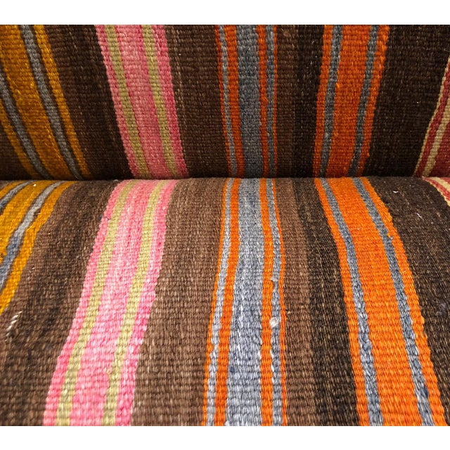 White Custom Made Sofa in Vintage Flat Woven Kilim For Sale - Image 8 of 11