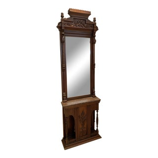 19th Century Victorian Tall Standing Hall Mirror with Marble Shelf For Sale