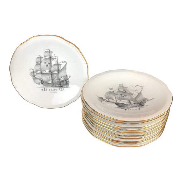 Rostrand Ship Porcelain Plates - Set of 11 For Sale