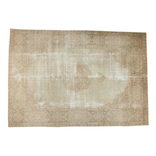 """Vintage Distressed Tabriz Carpet - 9' X 12'9"""" For Sale - Image 13 of 13"""