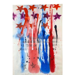 Large Mid-Century Modern Abstract Stars Watercolor Painting For Sale