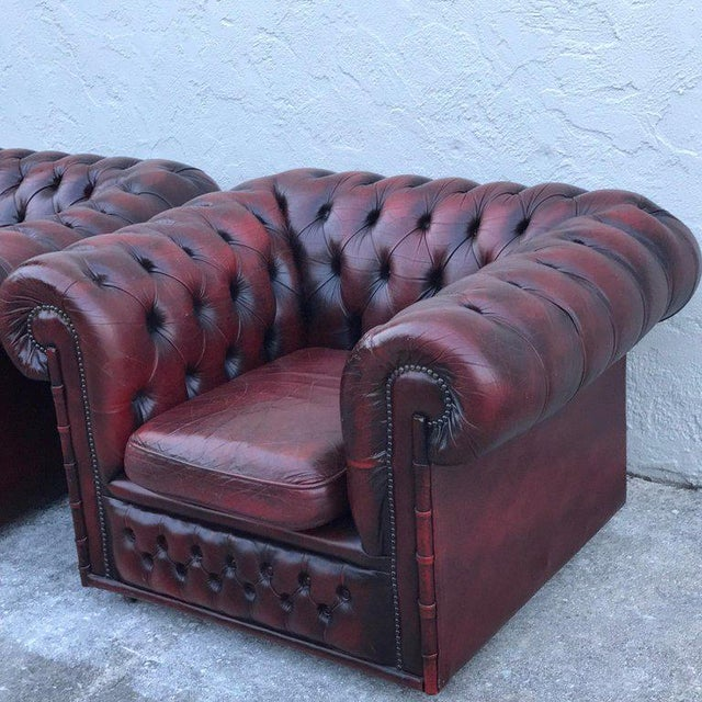 Pair of English Red Leather Chesterfield Club Chairs With Faux Bamboo Detail For Sale - Image 4 of 13