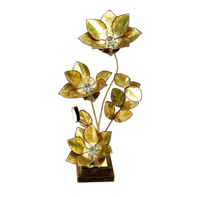 Maison Jansen French Mid-Century Modern 3 Light Cut Brass Flower Table Lamp For Sale - Image 13 of 13