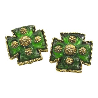 1960s Maltese Cross Lava Rock Earrings For Sale