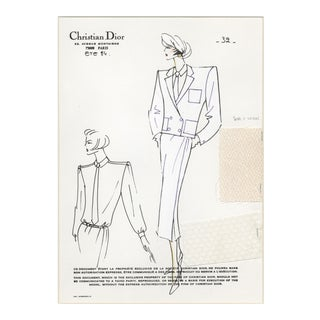 Vintage Christian Dior haute couture fashion drawing