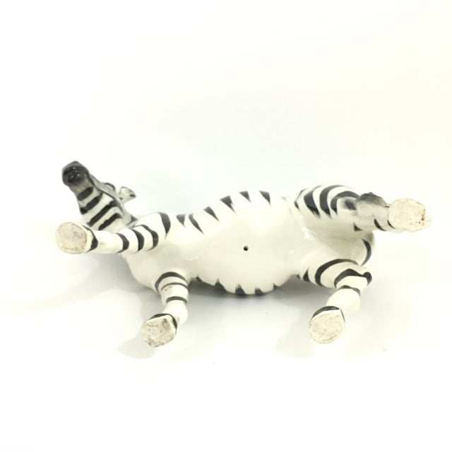 White Ceramic Zebra Figure Statue For Sale - Image 8 of 9