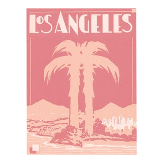 "Pink Palm Hollywood Deco Inspired Los Angeles Unframed Print, 16"" X 20"" For Sale"