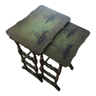 Painted Chinoiserie Nesting Tables- a Pair For Sale