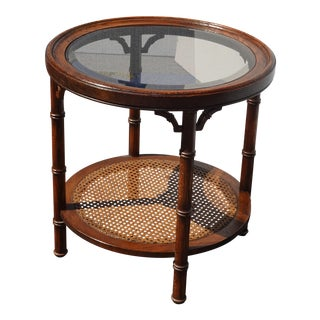 Vintage Chinese Chippendale Oak Wood Faux Bamboo & Cane Round End Table W Smokey Glass For Sale
