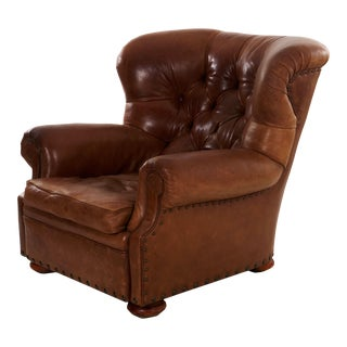 """Vintage Brown Leather """"Writer's"""" Wingback Arm Chair by Ralph Lauren For Sale"""