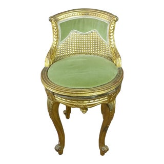 19th Century French Vanity Stool -Gilt Wood W/Cane Back For Sale