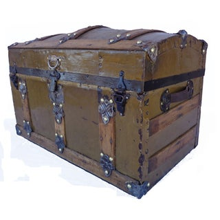 Antique Metal Covered Barrel Top Trunk Preview