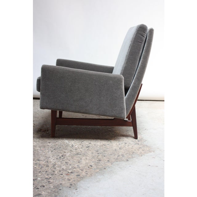 Mid-Century Modern Early Jens Risom Walnut and Mohair Lounge Chair For Sale - Image 3 of 9