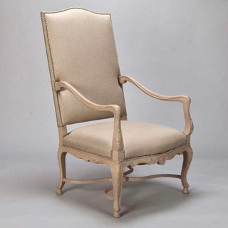Tall French Arm Chair with Carved Painted Frame Preview