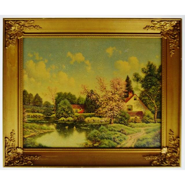 Vintage Gilt Framed Landscape Print on Textured Board For Sale - Image 13 of 13