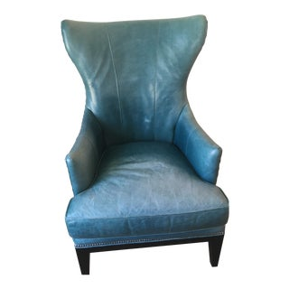 Blue Leather Chair For Sale