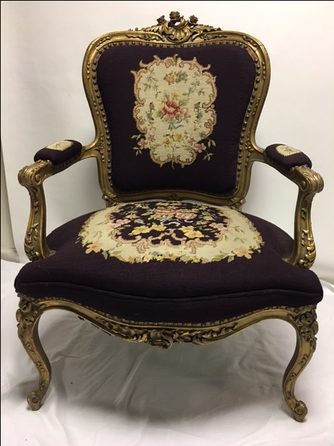 Gold Gilt Louis XV Needlepoint Chair   Image 2 Of 11