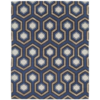 Modern Handmade Wool and Silk Carpet - 8′ × 10′ For Sale