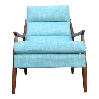 Mid Century Style Custom Walnut Lounge Chair For Sale