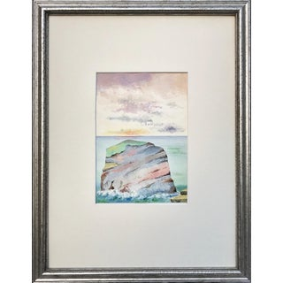 Antique English Watercolor Painting of Sunset on Coastal Rock Formation For Sale