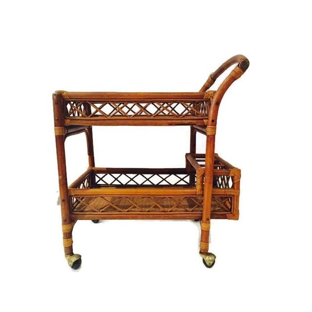 Mid-Century Bamboo & Cane Bar Cart 2 Tier - Image 5 of 8