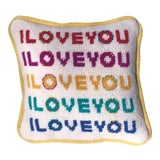 Image of I Love You Needlepoint Pillow, Custom Made Original Design, Hand Stitched by Artist For Sale
