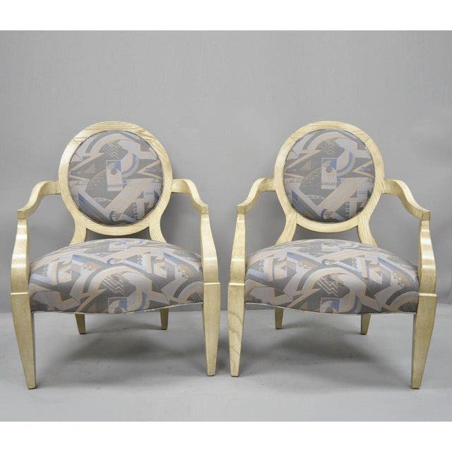 Late 20th Century Vintage John Hutton for Donghia Style Round Back Lounge Chairs- A Pair For Sale - Image 11 of 11