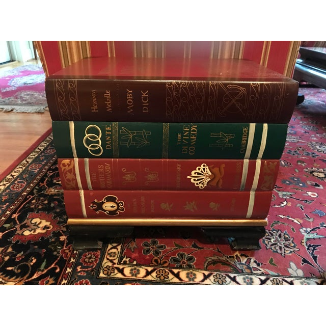Stacked Classic Books Hand Painted Side Table/Chest For Sale - Image 10 of 10