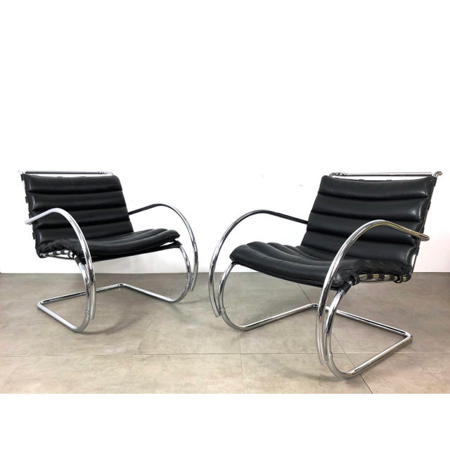 Mies Van der Rohe Vintage 1970s Mies Van Der Rohe Style Lounge Chairs - a Pair For Sale - Image 4 of 10