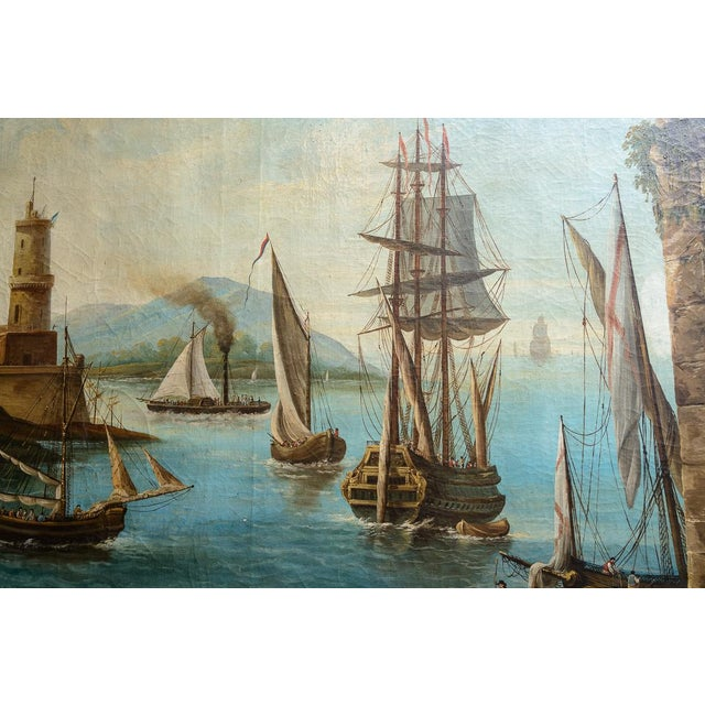 Harbour Scene Oil Painting For Sale - Image 4 of 9