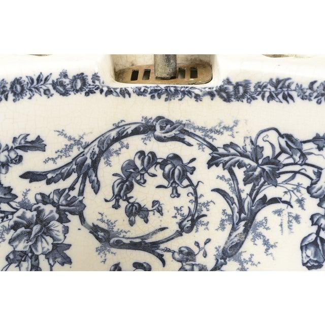 Ceramic Porcelain Sink Basin With Blue Floral Pattern For Sale - Image 7 of 8