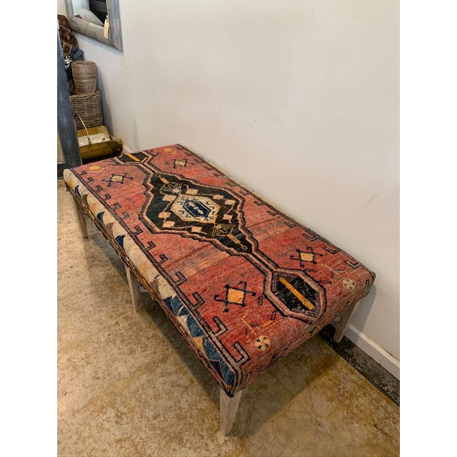Boho Chic Vintage Persian Rug Ottoman Table For Sale - Image 3 of 11