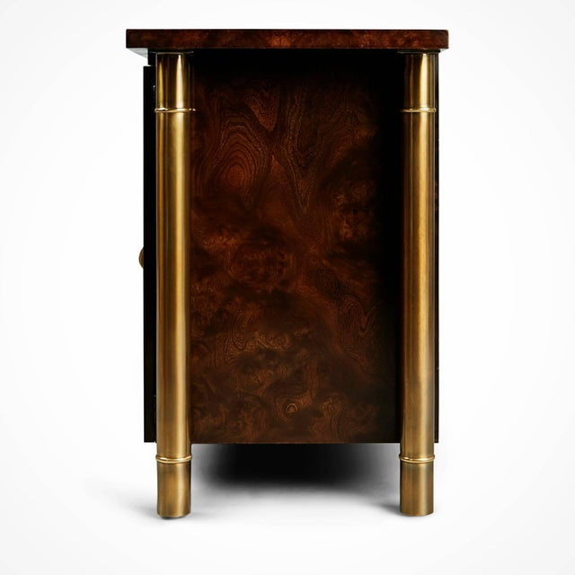 Brass 1960s William Doezema for Mastercraft Burled Wood and Brass Credenza For Sale - Image 7 of 11