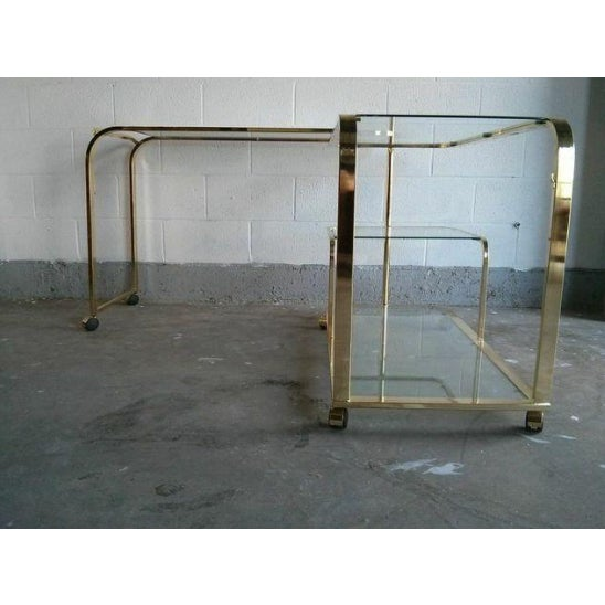 Brass and Glass Bar Cart by Milo Baughman for DIA - Image 5 of 5