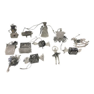 Exquisite Crystal & Silver Ornaments, Set of 12 For Sale