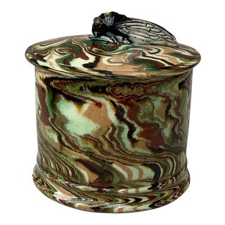 Majolica Box With Cicada Pichon Uzes, Circa 1890 For Sale