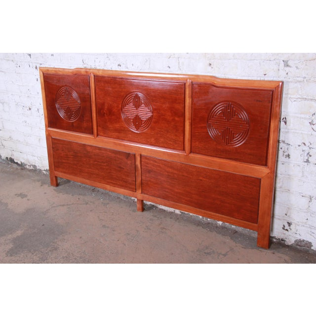 Hollywood Regency Chinoiserie Carved Mahogany King Size Headboard For Sale - Image 4 of 4