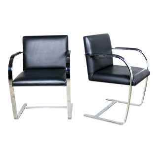 Black Leather Flat Bar Brno Chairs by Mies Van Der Rohe & Lilly Reich From Gordon Intl For Sale