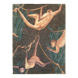Hand Painted French Panel Monkeys Painting For Sale